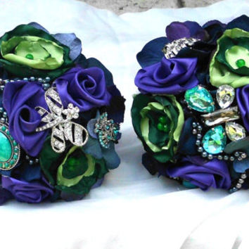 Brooch Bridesmaid Bouquet, Purple, Blue, Green, Peacock, Fabric Flower, Satin, Pearls, Wedding Party package, Bridal PArty