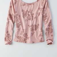 AEO Women's Patterned Ballet Back Cropped T-shirt