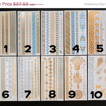 SALE!  Pick Any Five Bundle Pack! - Metallic Gold Silver and Light Blue Temporary Tattoo - Flash Tattoo - Jewelry - Body Ink Art - Stylish
