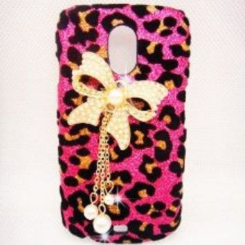 Luxury Pearl pink Leopard Crystal Diamond Rhinestones BOW bow-knot Flower Transparent Back Hard Case Cover Shell for Samsung Galaxy Light SGH-T399 (T-Mobile)