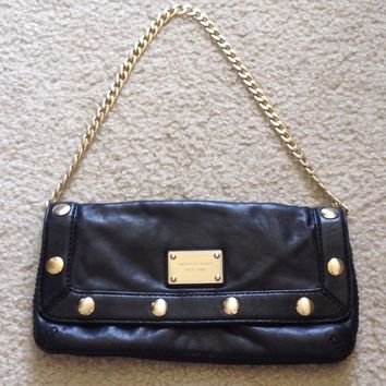 Michael Kors MK Black Calf Leather Gold Studded Chain Small Shoulder Bag Purse