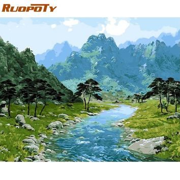 RUOPOTY Frame Picture Mountain Landscape Diy Painting By Numbers Modern Wall Art Acrylic Canvas Painting For Home Decor 40x50cm