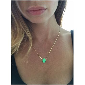 Hamsa Necklace | Opal Hamsa Necklace in Sterling silver plated with 18K Gold or 18K Rose Gold | Good Luck Charm Necklace