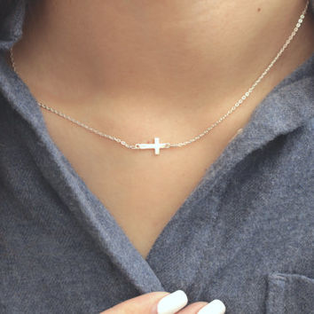 Cross Necklace, Sideway Cross Necklace, Silver Cross Necklace, Simple Cross Necklace, Dainty Cross Necklace, Cross Jewelry, Cross Pendant