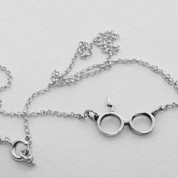 Harry Potter Necklace Silver Geek Glasses Lightning Scar Fashion Teen Modern Minimal Jewelry Chain Necklace Birthday Giftt Idea