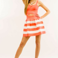 Coral and White Stripes Sweetheart Bandage Dress | Danice Stores