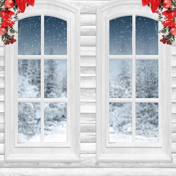 Winter Windows On Snowy Christmas Night Backdrop - 6902