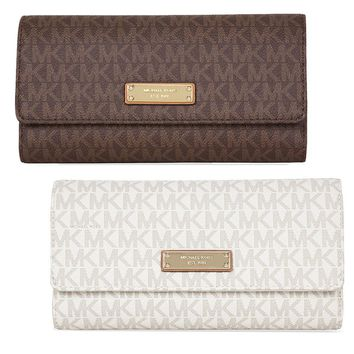 Michael Kors Jet Set PVC Checkbook Wallet - Choose color