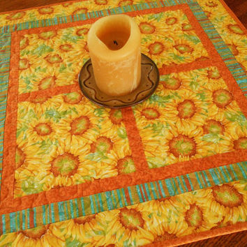 Sunflower Table Topper - Quilted Square Table Topper - Yellow Orange and Teal Quilted Table Mat