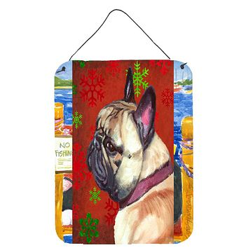 French Bulldog Frenchie Red Snowflakes Holiday Christmas Wall or Door Hanging Prints LH9580DS1216