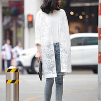 White Sheer Lace Over Coat