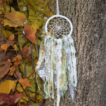 Small  Car Dream Catcher, Lace  Boho Dreamcatcher, Car Rear View Mirror Charm, Hippie Dreamcatcher