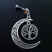 Half moon, and tree of life, wishing tree 14 gauge stainless steel dangle belly button navel rings, body jewelry, 14g