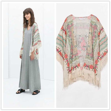 Fringed All-match Chiffon Cardigan Bat Sleeve Long White Printing Fringed Sunscreen Cardigan Kimono Casual Women Clothes S22009