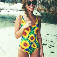 Sunflower Print Beach One Piece Swimwear Bikini Swimsuit