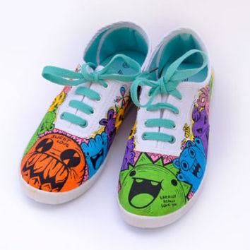 Unique shoes: Funny doodle monsters - Hand painted shoes (Custom / Converse / Vans)