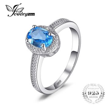 JewelryPalace Classic 1ct Genuine Swiss Blue Topaz 3 Stone Anniversary Ring 925 Sterling Silver New Fine Jewelry for Women