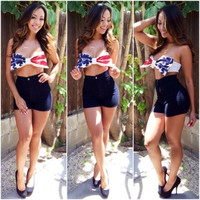 Stars And Stripes Bow Crop Top