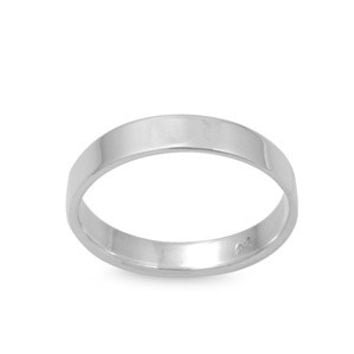 925 Sterling Silver Plain Cigar Band Style 4MM Ring