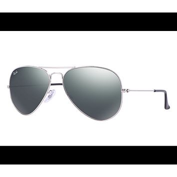 Ray Ban Aviator Sunglasses Silver Frame/Crystal Grey Mirror Lens