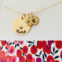 Nana Necklace, Grandma Necklace, Gold Grandma Necklace, Mimi Necklace, Personalized Grandma Necklace, Grandma Initial Necklace