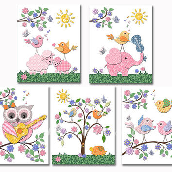colorful nursery art animal toddler artwork elephant poster owl kids room decoration baby girl room wall decor shower gift pink green yellow