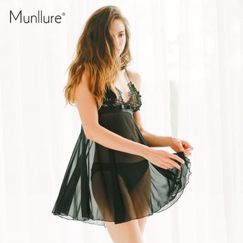 Munllure 2017 Sexy ultra-thin transparent Temptation Net yarn pajamas for women  embroidered decoration pajamas sets