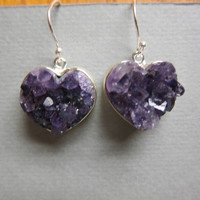 Amethyst Druzy  Earrings, Heart shaped .925 Sterling Silver Drop Earrings 12 grams weight