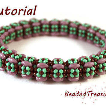 Flower Power - beadwoven bangle tutorial / Bangle pattern / Bracelet pattern/ Superduo pattern / Seed bead pattern / TUTORIAL ONLY