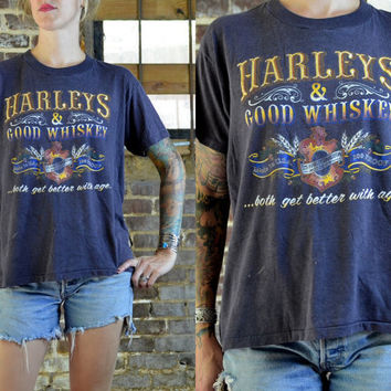 Vintage 80's  Harley Davidson & Good Whiskey Biker T Shirt