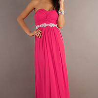 Floor Length Strapless Dress with Embellished Waist