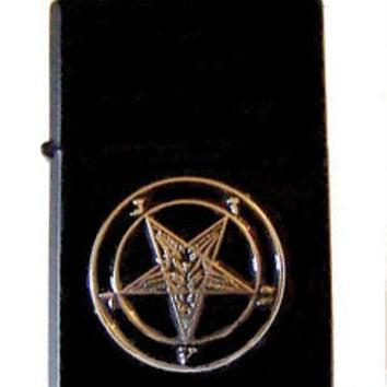 Pentagram Secret Occult Satanic Baphomet Zodiac Devil Black Magic Wicca Lighter
