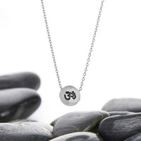 Ohm Necklace, Ohm, OM, Yoga, Necklace, Jewelry, Om necklace, yoga jewelry, Silver Necklace, House of Metalworks, yoga gift, OM charm, Gift