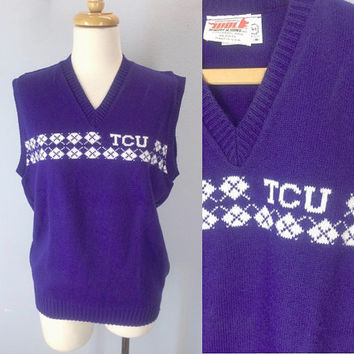 Vintage TCU Sweater Vest, Texas Sweater, College Sports Sweater, Horned Frog Sweater