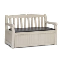 Patio Bench with Arm Rest & Storage Box in Beige Weather Resistant Resin