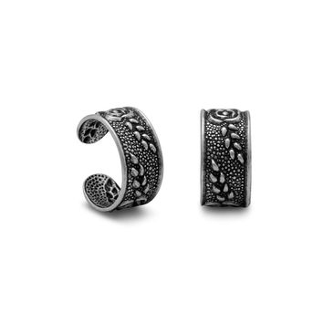 Sterling Silver Ear Cuffs with Oxidized Floral Design