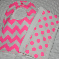 Neon Pink Chevron Baby Bib and Burp Rag Set