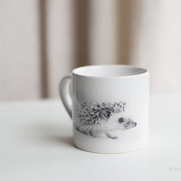 coffee mug, hedgehog mug, small cup with a tiny hedgehog, small African hedgehog, gift from woodland, hedgehog gift, small mug