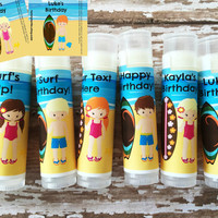 6 Pc Surf Party Lip Balm Favors-Beach Party-Surf Birthday-Beach Lip Balm-Surfer Party Favor-Beach Chapstick-Hawaiian Theme Party Favors