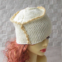 Hand knitted ladies beanie Hat  White Knit Hat Women Hat Slouchy Beanie