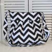 New! Skylar Bag in Black and White Chevron with Black Interior - Crossbody Strap - Handbag - Year Round Purse