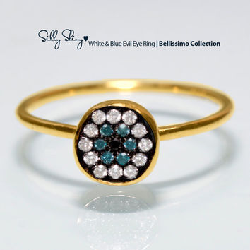 White & Blue Evil Eye Diamond 14K Gold Ring