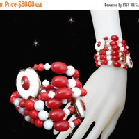 SALE Candy Cane Bracelet - OOAK Retro  Vintage Style Bracelet - Red & White - Made with Vintage