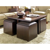 Hammary Cubic's Coffee Table with Nested Ottomans