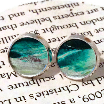 Teal, Turquoise,  and White Leather Stud Earrings, Leather Earrings, St Patrick's day, Irish