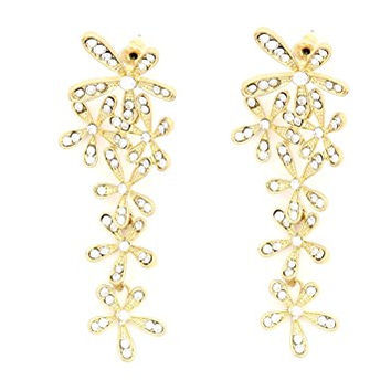 Floral Cluster Stud Earrings Crystal Flower Vintage Gold Tone Dangle Posts EJ20 Fashion Jewelry