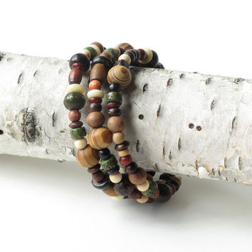 Wood beaded bracelet - three stacking bangles in one