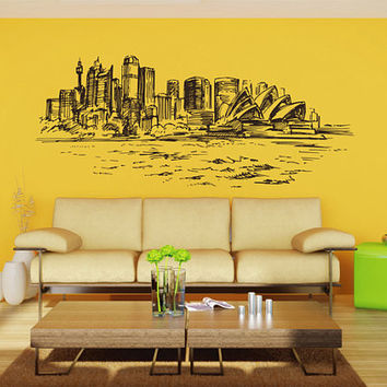 Sydney Skyline Wall Decals Sydney Wall Decals Grand Opera wall decals Cityscape Sydney Wall Decals Australia Wall Decals kik2398