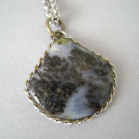 Vintage Dendritic Agate pendant necklace with sterling silver chain