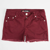 Scissor Fray Edge Girls Denim Shorts Wine  In Sizes